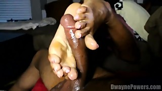 Black Wife Gives Foot and Handjob