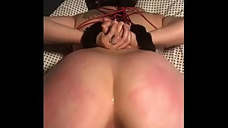 Pawg slut wife tied up and fucked by bbc dildo