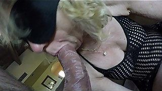Ka-Episode1, POV blindfolded hot MILF in black fishnet takes pleasure to suck deep and slow like a pro a stranger'_s big fat cock while husband is watching.