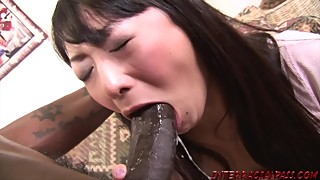 Asian wife takes huge black cock and swallows bbc cum