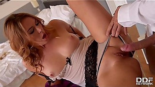 Horny wife with great tits Ani Blackfox seduces hard working husband
