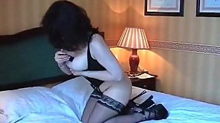 Check my MILF Busty mature in black stockings with toy