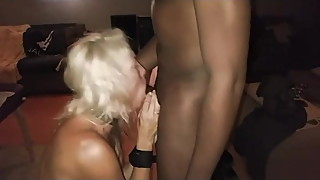 Wife sucking big black cock