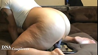 Wife rides bbc dildo then sucks me off and rides my dick