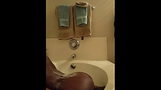 Black wife caught taking  Huge dildo in tub