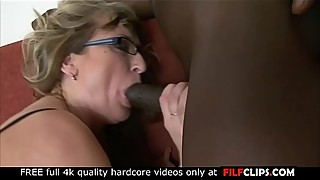 Horny mature in sexy lingerie loves big black cock