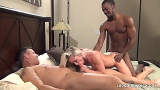 800DAD Hotwife Whore Slammed by Two Cocks