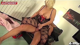 Blonde mom wife rides husbands best friend dick while he is at work