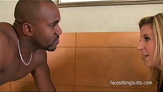 Sarah the apartment manager gets destroyed by two black studs