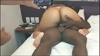 Cuckold husband masturbates, while his slut wife fucks his freind